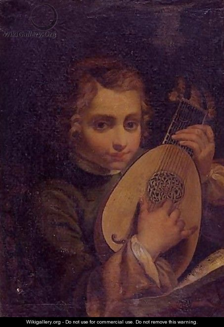 Portrait of a boy playing a lute - Bolognese School