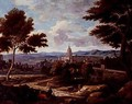 Southern landscape with figures and monastery in distance - Etienne Allegrain