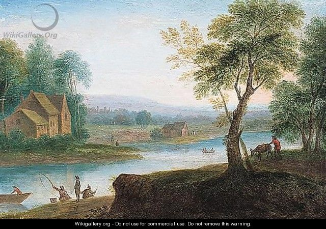 River landscape with fishermen and travellers - Flemish School