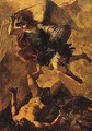 The archangel michael vanquishing the devil - Spanish School