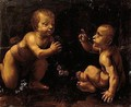 The Figures Of The Christ Child And Infant John The Baptist Are Based On Leonardo's Famous Painting Of The Virgin Of The Rocks - (after) Leonardo Da Vinci