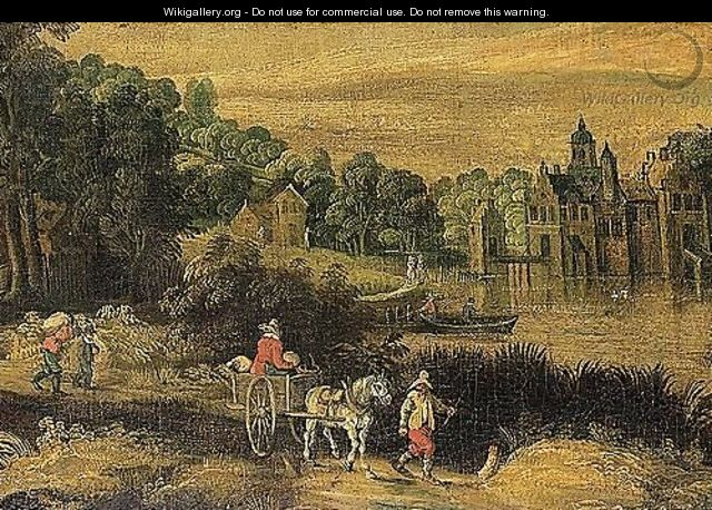 River landscape with waggoners on a path, a manor house beyond - (after) Frans De Momper