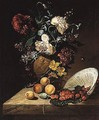 Sill life of flowers in a sculpted vase, strawberries in an upturned porcelain bowl - (after) Rachel Ruysch