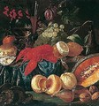 Still life of lobster, fruit, nuts, oysters and bread, together with a wine bottle, a roemer and a wine glass - (after) Jacob Caproens