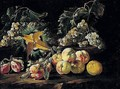 A Still Life Of Peaches, Grapes, Plums, And A Melon In A Landscape - Giovanni Paolo Castelli (lo Spadino)