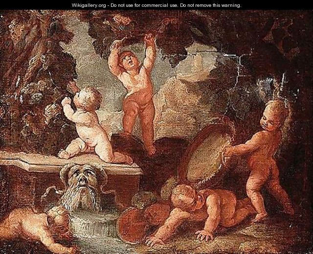 Putti playing near a stream issuing from a gargoyle - (after) Giulio Carpioni