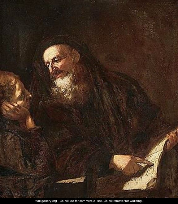 A philosopher instructing a pupil - (after) Giovanni Battista Langetti