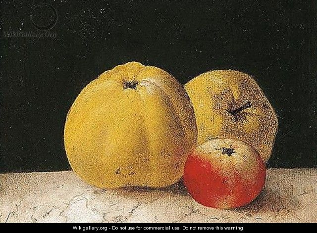 Study of apples on a marble ledge - French School