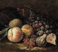 Still life of peaches, figs and grapes - (after) Franz Werner Von Tamm