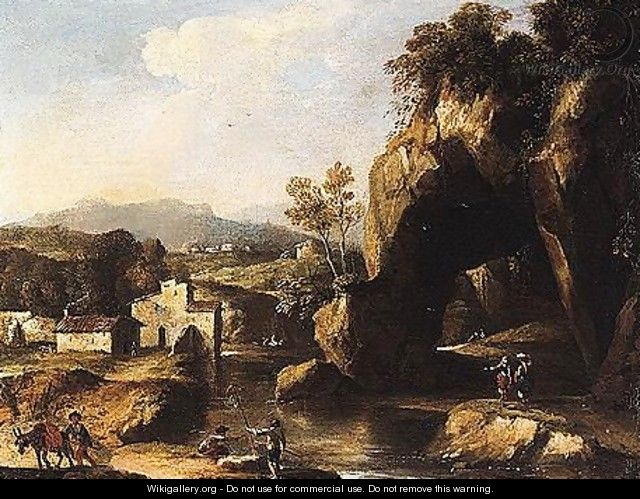 A rocky river landscape with peasants in the foreground - Roman School