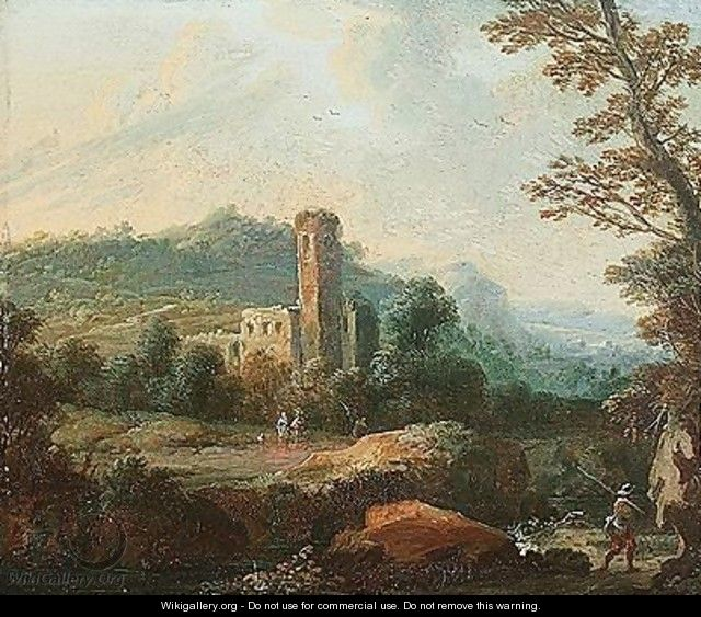 A wooded landscape with a huntsman and a ruined tower - Johann-Gabriel Canton