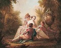 Elegant figures listening to a young woman reading in a woodland clearing - French School