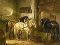 Three Horses In A Stable - Wouterus Verschuur