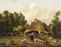 A Peasantwoman With Her Cattle In Front Of A Farm - Pieter Gerardus Van Os