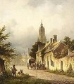 Travellers In The Streets Of A Dutch Town - Lodewijk Johannes Kleijn