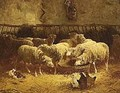 Sheep In A Barn - Charles Émile Jacque