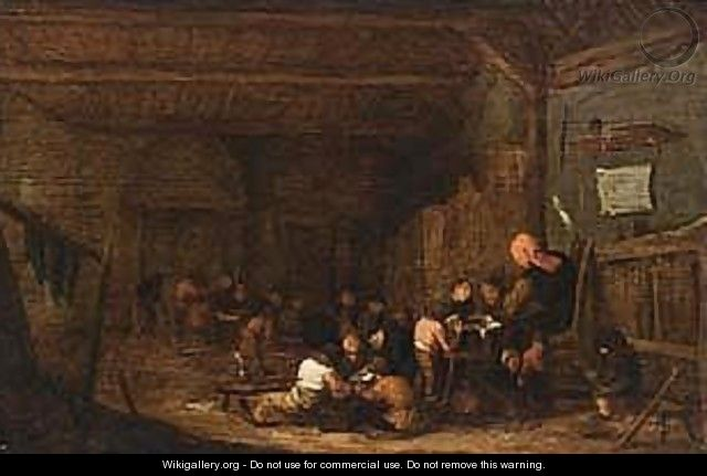 A teacher with his school class - (after) Adriaen Jansz. Van Ostade