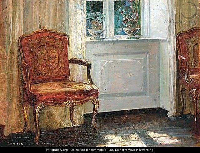 Interior With Red Chair - Carl Vilhelm Holsoe