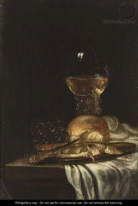 A Pewter Plate And A Knife - (after) Willem Van Aelst