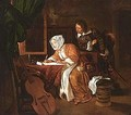 A lady writing a letter with a man looking over her shoulder - (after) Gabriel Metsu
