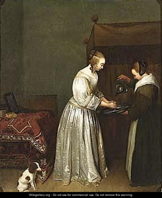 A lady washing her hands in an interior - (after) Gerard Ter Borch