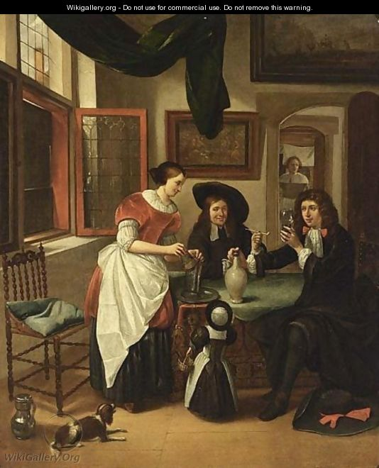 Elegant figures drinking and smoking in an interior - Haarlem School