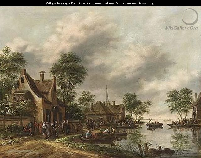 A River Landscape With A Village Kermesse And