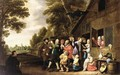 A Procession Of Peasants Leaving A Country Inn, Playing Musical - Pieter Nijs