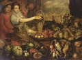 And Apples In A Baskets With Birds, Green Cabbages - (after) Joachim Beuckelaer