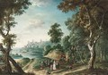 An Extensive Wooded River Landscape With Travellers On A Path In The - Joseph van Bredael