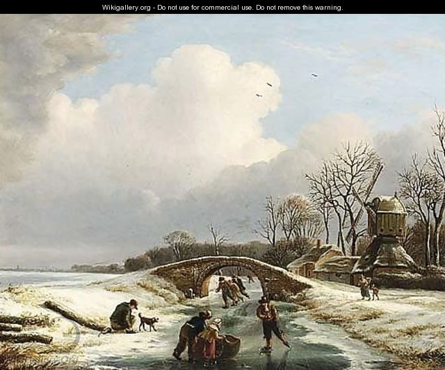 A Winter Landscape With Figures Skating Near A Windmill - Andries Vermeulen