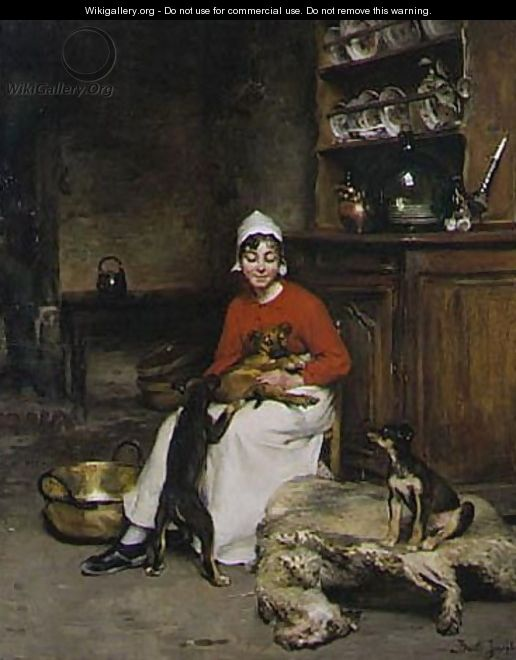 The Kitchen Maid With Three Puppies - Claude Joseph Bail