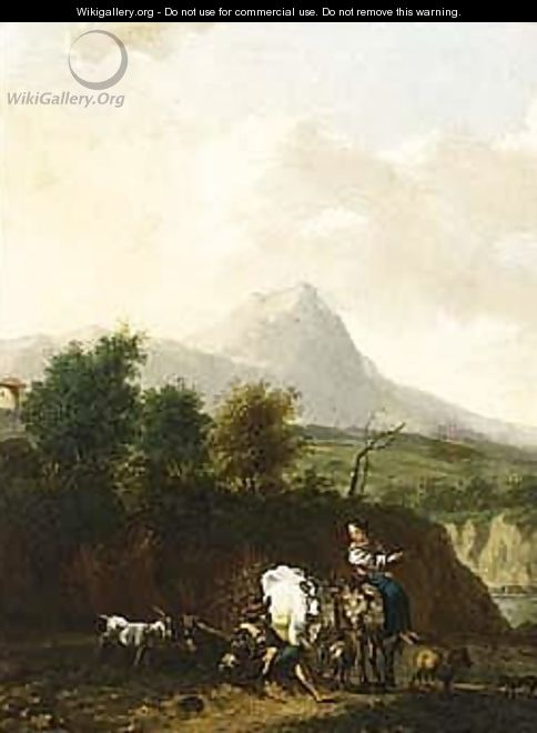 A mountainous landscape with shepherds and their herd resting - (after) Nicolaes Berchem