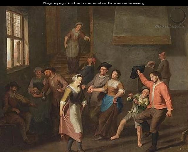 A merry company dancing and drinking in an inn - Flemish School