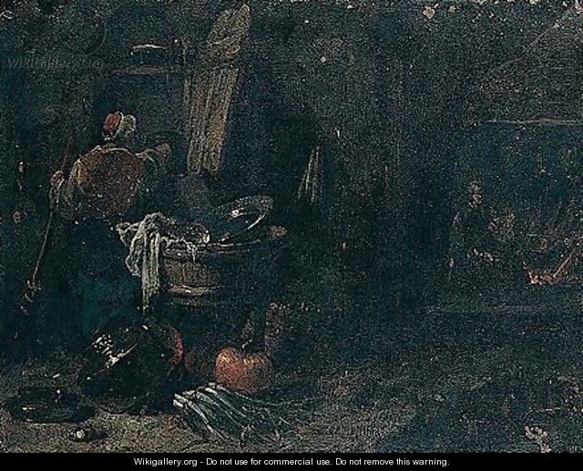 Domestic Interior With A Figure Sweeping, A Maid Spinning By A Fire Beyond - Willem Kalf