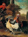 Cockerels, A Hen, And A Parrot In A Garden - (after) Melchior De Hondecoeter