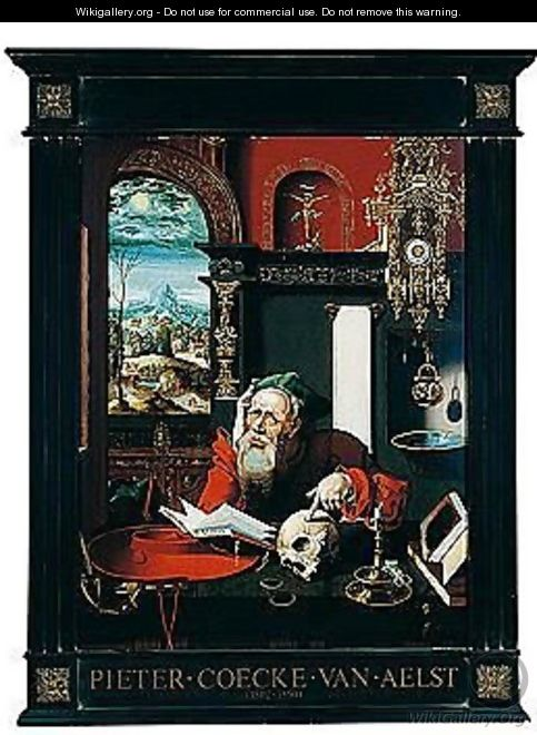 St. Jerome In His Study, A Landscape Seen Through The Window - (after) Pieter Coecke Van Aelst