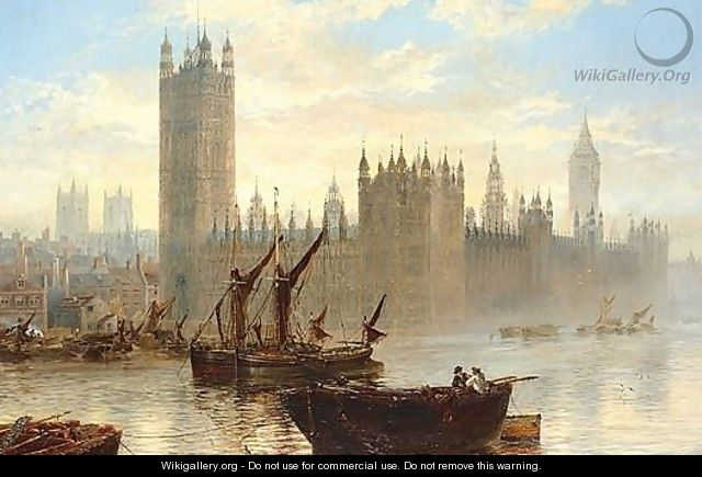 The Houses Of Parliament From The Thames - Claude T. Stanfield Moore