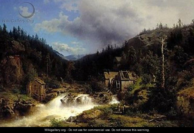 Landscape with a watermill - Herman Herzog
