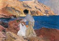 Clotilde Y Elena En Las Rocas, Javea (Clotilde And Elena On The Rocks, Javea) - Joaquin Sorolla y Bastida