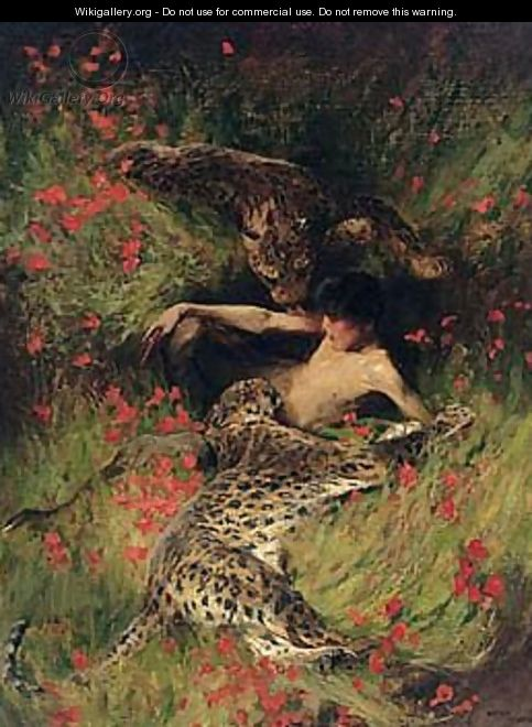 A satyr resting with leopards - Arthur Wardle