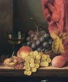 Still Life With Grapes, Peaches And A Glass - Edward Ladell