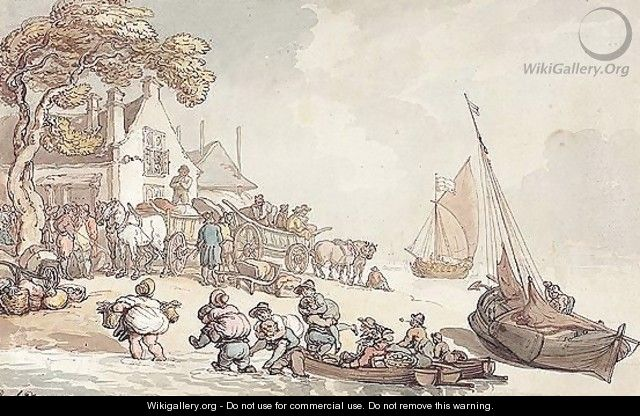 Figures Unloading Fishing Boats On The Shore - Thomas Rowlandson