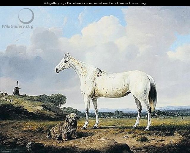 A Grey Hunter With Terrier In A Landscape - Charles Towne