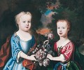 Portrait Of Two Children With Flowers In A Landscape - (after) Robert Byng Or Bing
