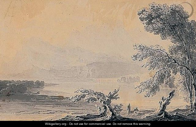Figures By A Lake With A Bridge - John Martin