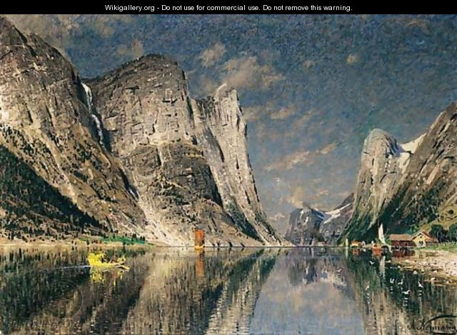 Boats On A Fjord - Adelsteen Normann