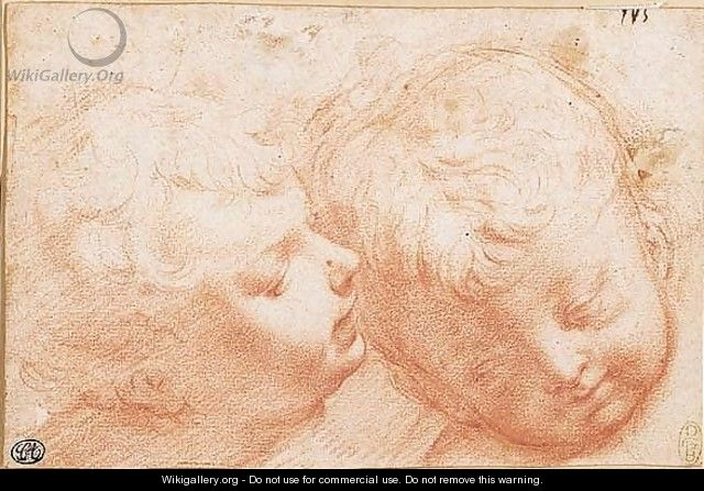 Two heads of little boys - Bernardino Barbatelli Poccetti