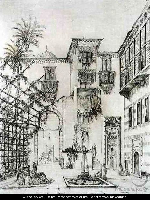 Interior of a courtyard, in Cairo, from