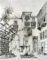 Interior of a courtyard, in Cairo, from 'Art and Industry' - (after) Albanis de Beaumont, Jean Francois